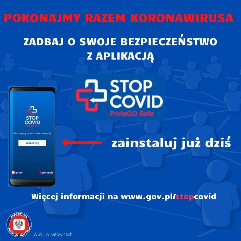 plakat aplikacji COVID 19